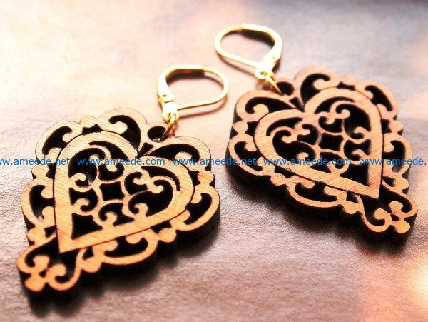 Heart earrings file cdr and dxf free vector download for Laser cut