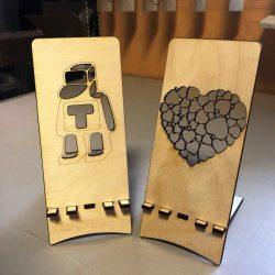 Heart phone holder and robot file cdr and dxf free vector download for Laser cut