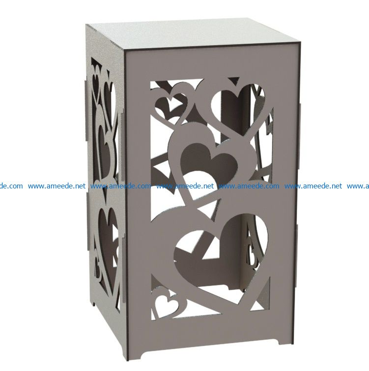 Heart standing box file cdr and dxf free vector download for Laser cut