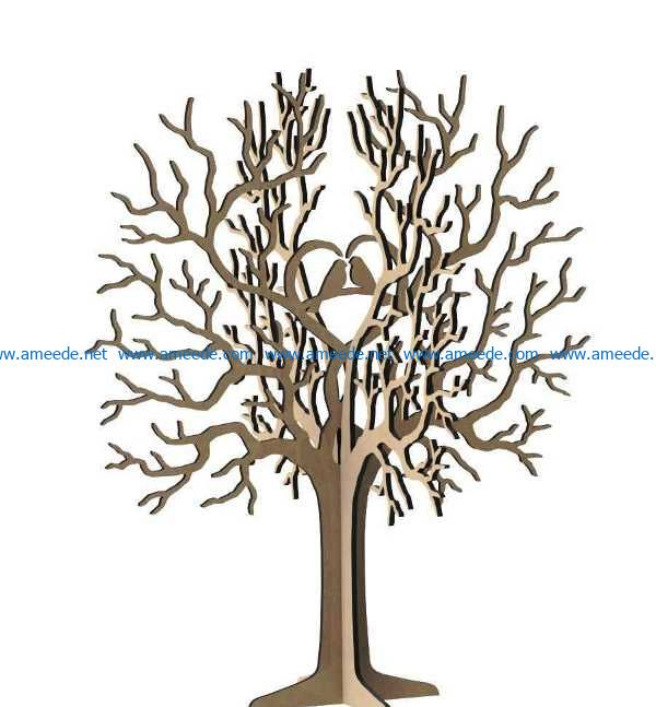 Heart tree and bird file cdr and dxf free vector download for Laser cut