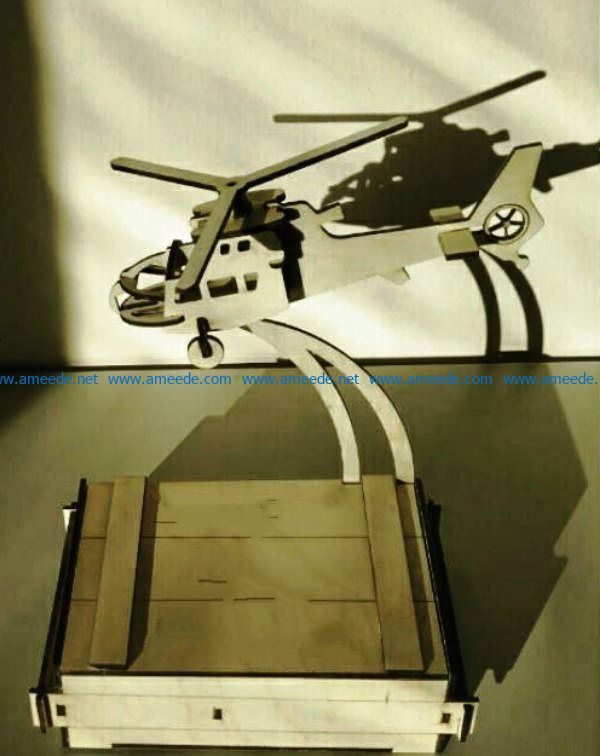 Helicopter with a business card holder file cdr and dxf free vector download for Laser cut