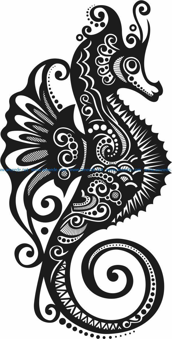 Hippocampus file cdr and dxf free vector download for laser engraving machines