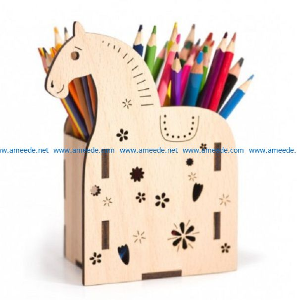 Horse shaped pen case file cdr and dxf free vector download for Laser cut