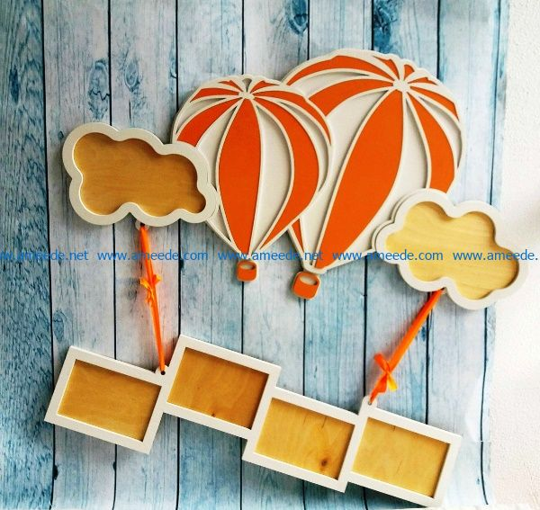 Hot air balloon photo frame free vector download for Laser cut