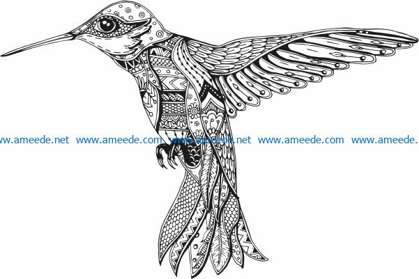 Hummingbird art file cdr and dxf free vector download for laser engraving machines