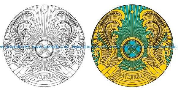 Kazakhstan badge file cdr and dxf free vector download for print or laser engraving machines