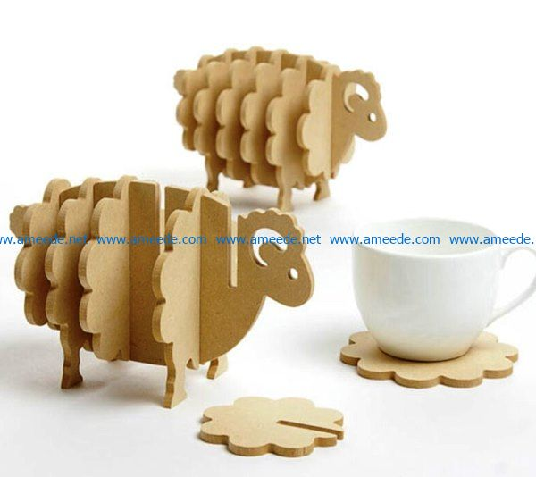 Lamb coasters file cdr and dxf free vector download for Laser cut CNC