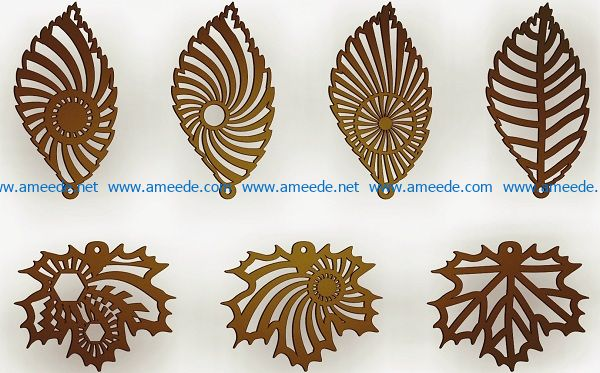 Leaf-shaped earrings file cdr and dxf free vector download for print or laser engraving machines