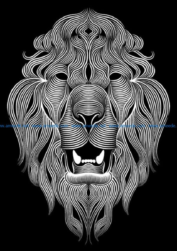 Lion file cdr and dxf free vector download for print or laser engraving machines