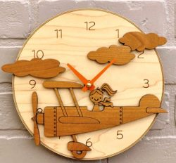 Little girl and plane wall clock file cdr and dxf free vector download for Laser cut