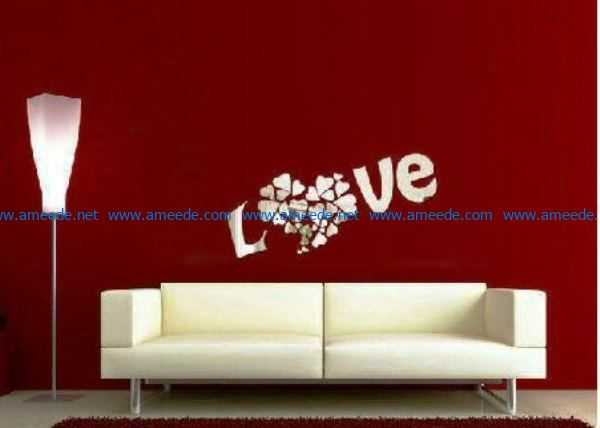 Love Mural file cdr and dxf free vector download for print or laser engraving machines