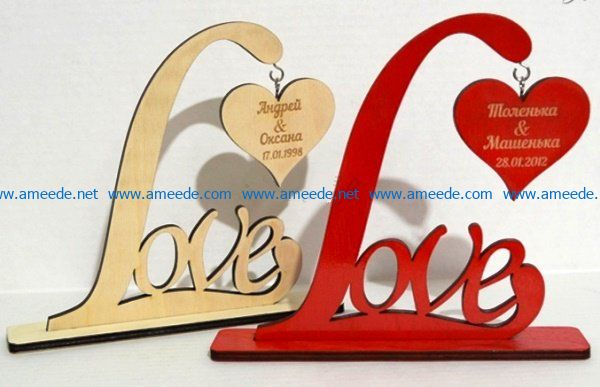 Love and heart file cdr and dxf free vector download for Laser cut