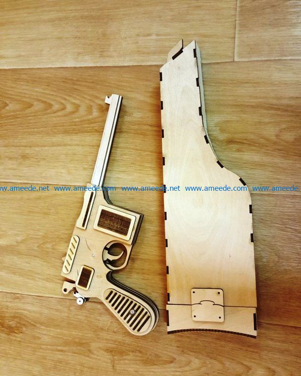 Mauser C96 gun file cdr and dxf free vector download for Laser cut