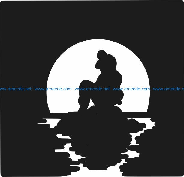 Mermaid file cdr and dxf free vector download for Laser cut Plasma