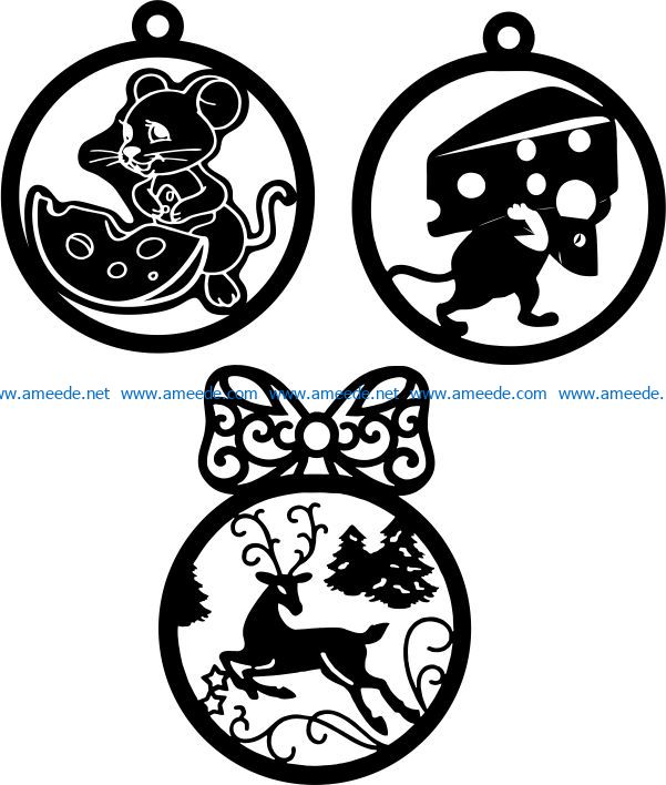 Mice and deer decorate the Christmas tree file cdr and dxf free vector download for Laser cut