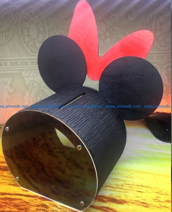 Mickey Piggy bank file cdr and dxf free vector download for Laser cut