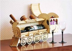 Mini-bar Steam locomotive  file cdr and dxf free vector download for Laser cut