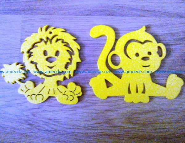 Monkey and lion file cdr and dxf free vector download for Laser cut