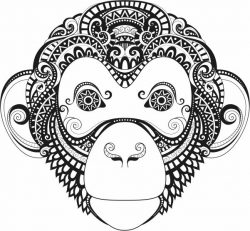 Monkey face file cdr and dxf free vector download for laser engraving machines