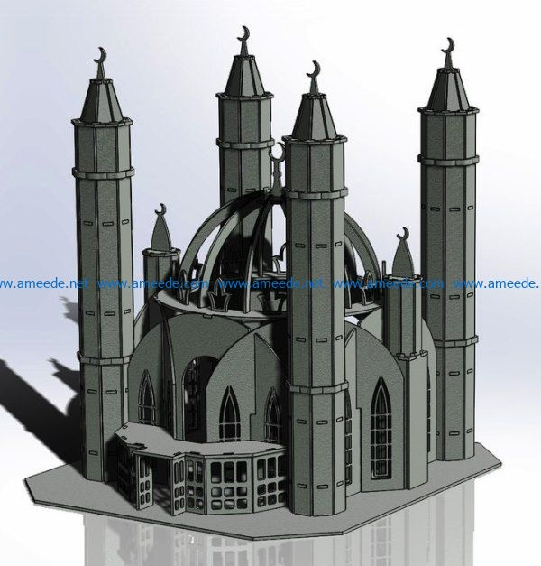 Mosque file cdr and dxf free vector download for Laser cut