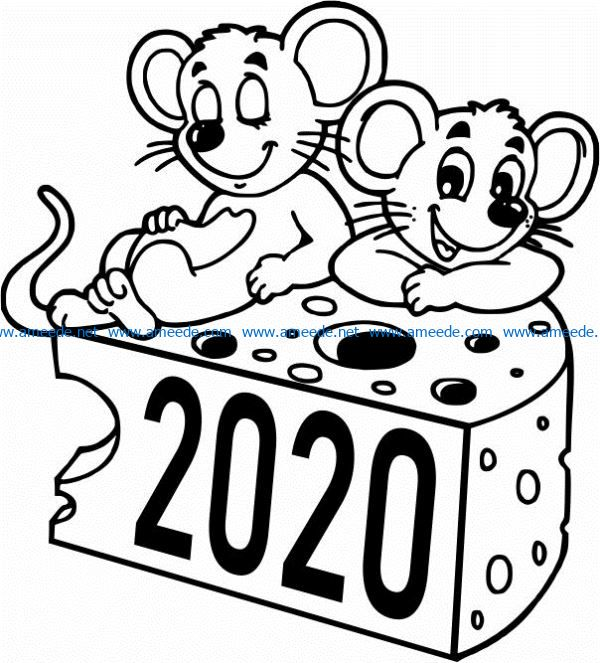 Mouse and piece of cheese file cdr and dxf free vector download for print or laser engraving machines