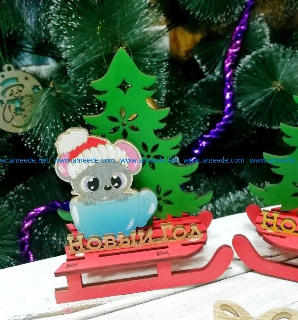 Mouse on sleigh file cdr and dxf free vector download for Laser cut
