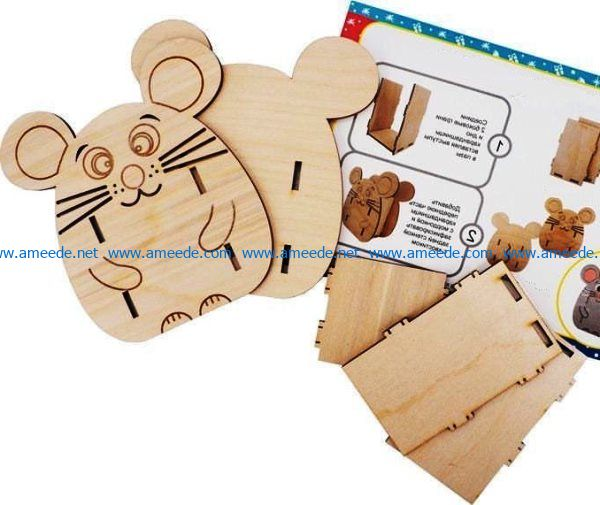Mouse pencil holder file cdr and dxf free vector download for Laser cut