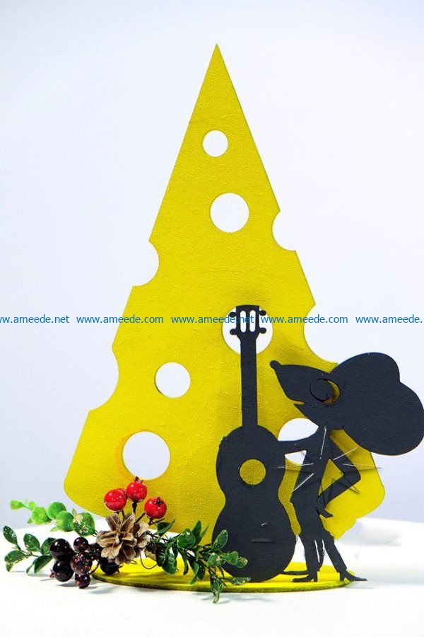 Mouse with guitar file cdr and dxf free vector download for Laser cut CNC