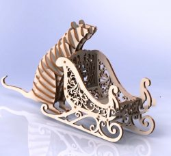 Mouse with sleigh file cdr and dxf free vector download for Laser cut
