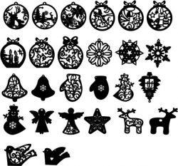 New Year decoration toys  file cdr and dxf free vector download for Laser cut
