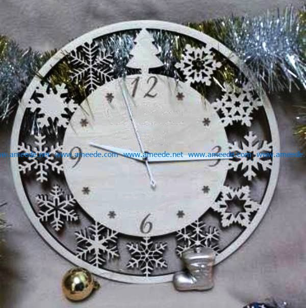 New Year's clock file cdr and dxf free vector download for Laser cut
