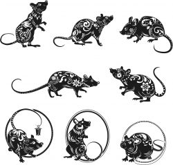 New year decoration mouse file cdr and dxf free vector download for print or laser engraving machines