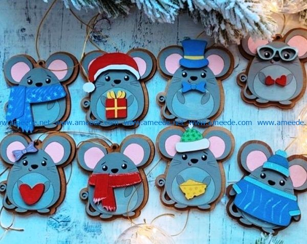 New year mouse file cdr and dxf free vector download for Laser cut
