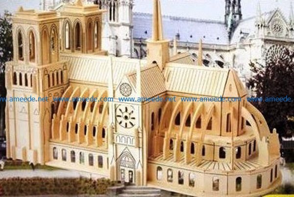 Notre Dame Cathedral PDF free vector download for Laser cut CNC