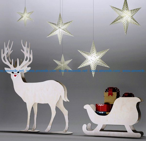 Olen sleigh file cdr and dxf free vector download for Laser cut