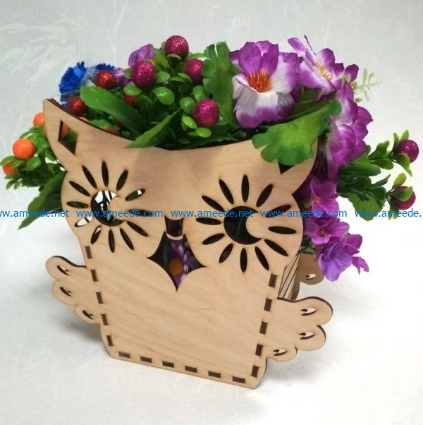 Owl flower basket file cdr and dxf free vector download for Laser cut