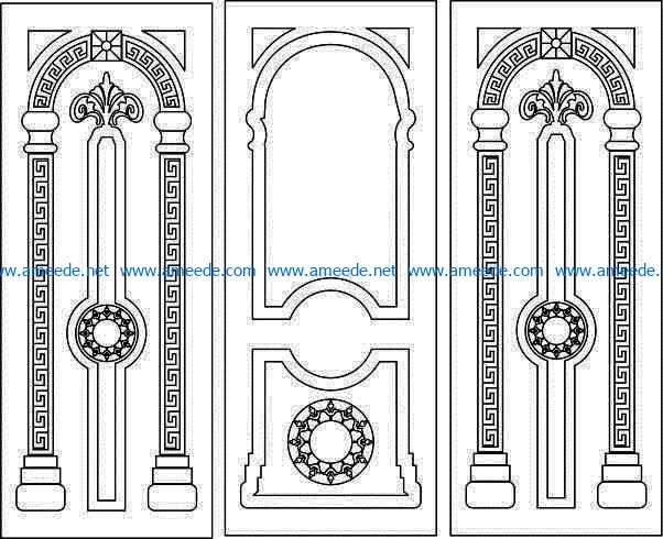 Pattern arabic door file cdr and dxf free vector download for CNC cut