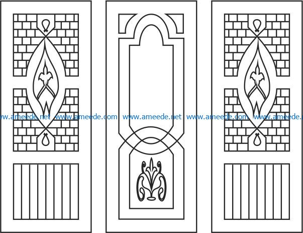 Pattern interlocking door file cdr and dxf free vector download for Laser cut CNC