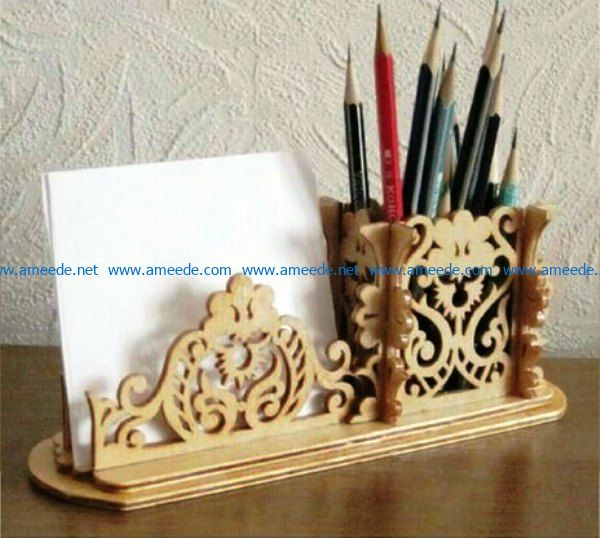 Pencil and paper holder file cdr and dxf free vector download for Laser cut