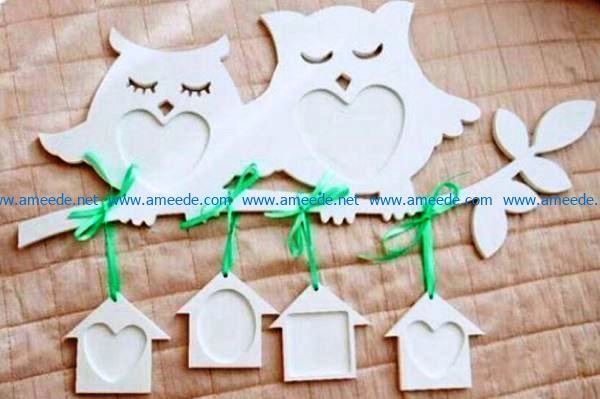 Photo frame with two owls file cdr and dxf free vector download for Laser cut