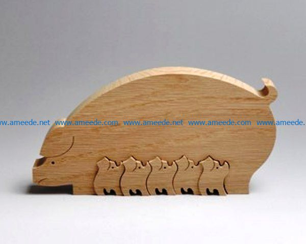 Piggy family file cdr and dxf free vector download for Laser cut CNC