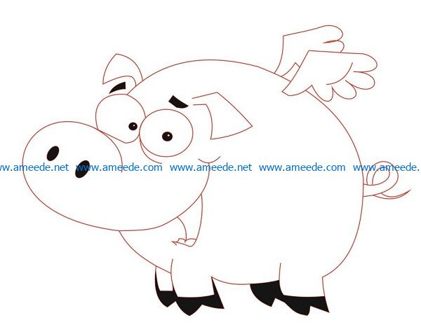 Pigs with wings file cdr and dxf free vector download for Laser cut