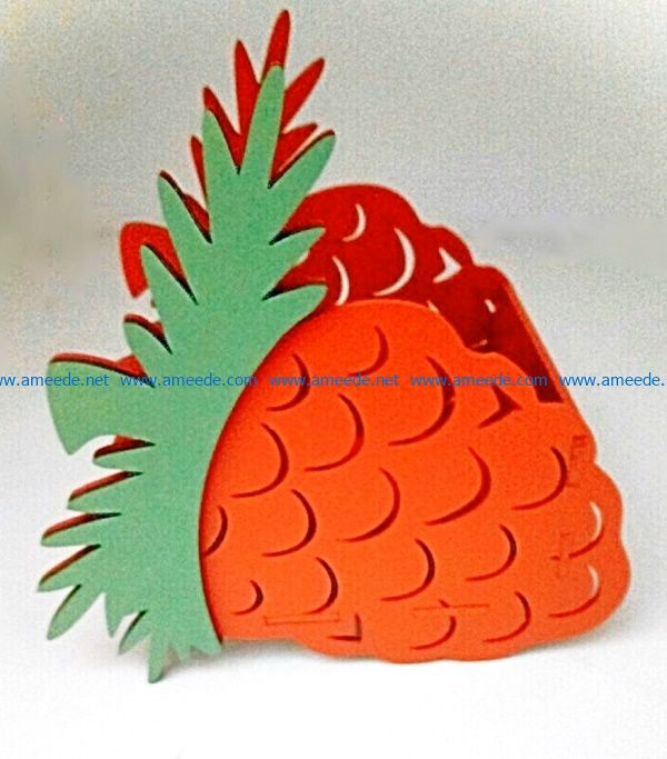 Pineapple pencil holder file cdr and dxf free vector download for Laser cut