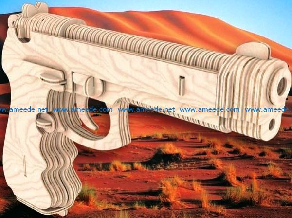 Pistolet Beretta file cdr and dxf free vector download for Laser cut