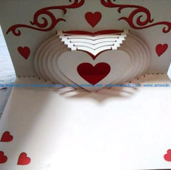 Postcards Heart file cdr and dxf free vector download for Laser cut