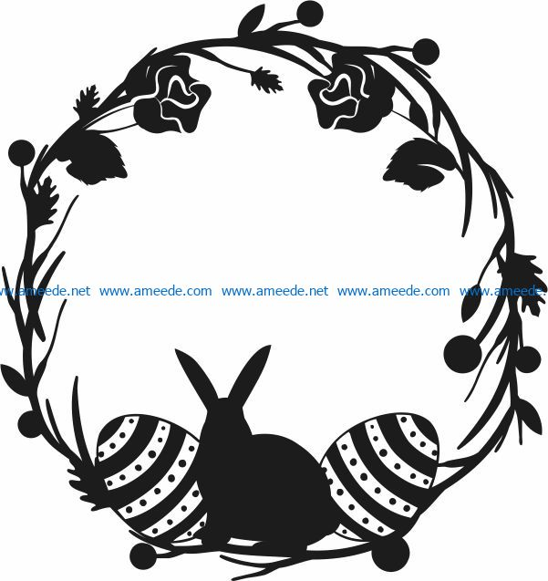 Rabbit wreath with eggs file cdr and dxf free vector download for Laser cut Plasma file Decal