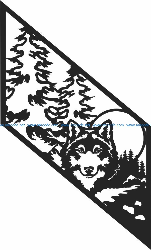 Railing wolf in the full moon file cdr and dxf free vector download for Laser cut CNC