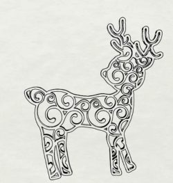 Reindeer Swirl file cdr and dxf free vector download for Laser cut