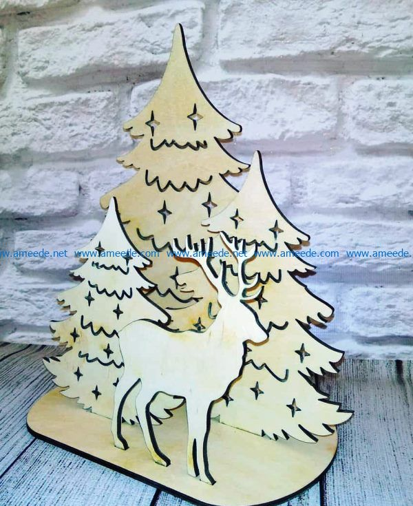 Reindeer and christmas tree file cdr and dxf free vector download for Laser cut