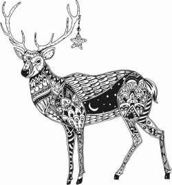 Reindeer with star file cdr and dxf free vector download for laser engraving machines